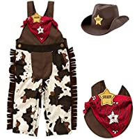 Bilo Store Infant Toddler Baby Boy Sheriff Cowboy Costume Overalls, Hat and Handkerchief 3-Piece Brown