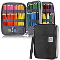 YOUSHARES 192 Slots Colored Pencil Case, Large Capacity Pencil Holder Pen Organizer Bag with Zipper for Prismacolor Watercolor Coloring Pencils, Gel Pens & Markers for Student & Artist (Black)