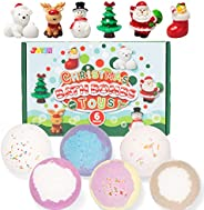 Christmas Bath Bombs with Toys Inside, 6 Packs Bubble Bath Bombs Christmas Tree Ornament with Christmas Figure