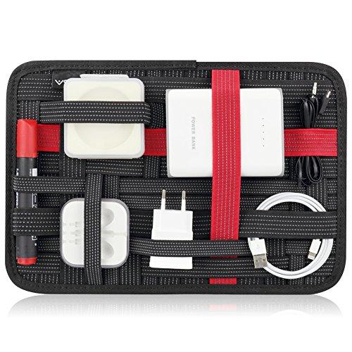 V5X 収納ケース インナーバッグ ガジェット&デジモノアクセサリ固定ツール バッグインバッグ 小物収納 A4サイズ (A4, 赤い)