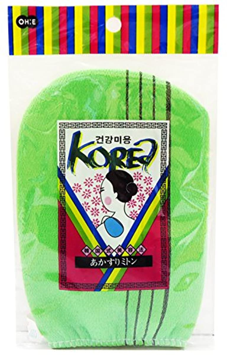 奨励不振パネルオーエ ボディタオル グリーン 約縦18×横13cm 韓国式 あかすり ミトン 角質とり