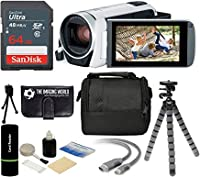 Canon VIXIA HF R800 57x Zoom Full HD 1080p Video Camcorder (White) + 64GB Card + Case + Tripod + Digital Camera Cleaning Kit - Complete Accessories Bundle 141[並行輸入]