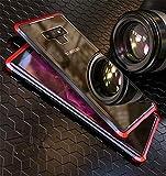 Galaxy Note9 アルミ3パーツ式 9H強化ガラス 背面板付き galaxy note9 バンパー アルミ 強化ガラス 着脱可能 GALAXY NOTE9 三段式 背面ケース3パーツ式 カバー 耐衝撃 頑丈 ギャラクシー ノート9軽量 カバー (ブラック×レッド)
