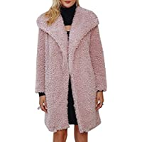BerryGo Women's Casual Faux Fur Long Coat Lapel Shaggy Open Front Jackets