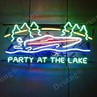Desungブランド新しいモーターボートParty at the LakeネオンSign (各種サイズ)ビールバーパブMan Caveビジネスガラスネオンランプライトdc191 32 Inches