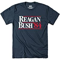 ROWDY GENTLEMAN Mens Reagan Bush '84 Vintage Tee Short Sleeve T-Shirt - Blue