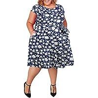 Nemidor Women's Cap-Sleeve 1950s Retro Rockabilly Plus Size Vintage Prom Swing Dress