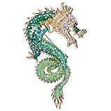 [エバーフェイス] EVER FAITH 輝いてる夢、ドラゴン 竜 グリーン ブローチ 飾り物 ゴージャス ウェディング パーティー オーストリアン クリスタル 合金 ゴールドトーン[インポート]