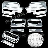 09–14フォードf150トリプルクロムメッキミラーカバー( Does Not Fit On Towingミラー、2ドアハンドルカバーキーパッドと助手席鍵穴、テールゲートハンドル、ガス抜きドアカバー