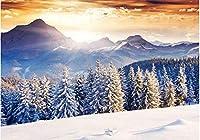 Ansyny 壁画壁紙ホームデコレーション松葉雪山背景壁絵画写真-250X160CM