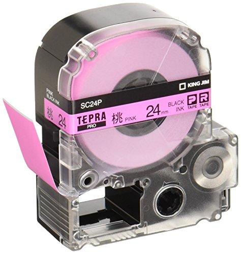 テプラ PROテープ 24mm カラーラベル パステル ピンクラベル(黒文字) 1個 SC24P