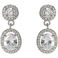 Womens Gold Plated Oval Crystal Ear Drop/Dangle Earrings