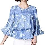 (フムフム) fumu fumu レディース ブラウス トップス とろみ チュニック フリルスリーブ きれいめ 大きいサイズ カットソー シフォン 羽 柄 レッド ブルー ホワイト ワンピース ファッション かわいい 花柄 (B04. ブルー XL )