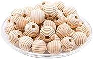 Mamimami Home 50 Pcs Wooden Beads Spiral Beads 17mm Wood Wood Unpainted Natural Material Diy Material Material