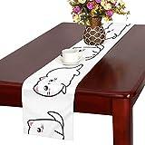GGSXD テーブルランナー 幼い 白い猫 クロス 食卓カバー 麻綿製 欧米 おしゃれ 16 Inch X 72 Inch (40cm X 182cm) キッチン ダイニング ホーム デコレーション モダン リビング 洗える