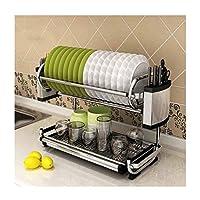 .キッチンラック キッチンシェルフステンレス鋼2段食器収納棚カトラリーラックホームストレージラック (Size : 42cm)