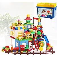 QXMEI 子供用おもちゃ 子供ブロック 大きな粒子 プラスチック組み立てパズル玩具 製品サイズ: 13.8インチ 8.7インチ x 9.6インチ。