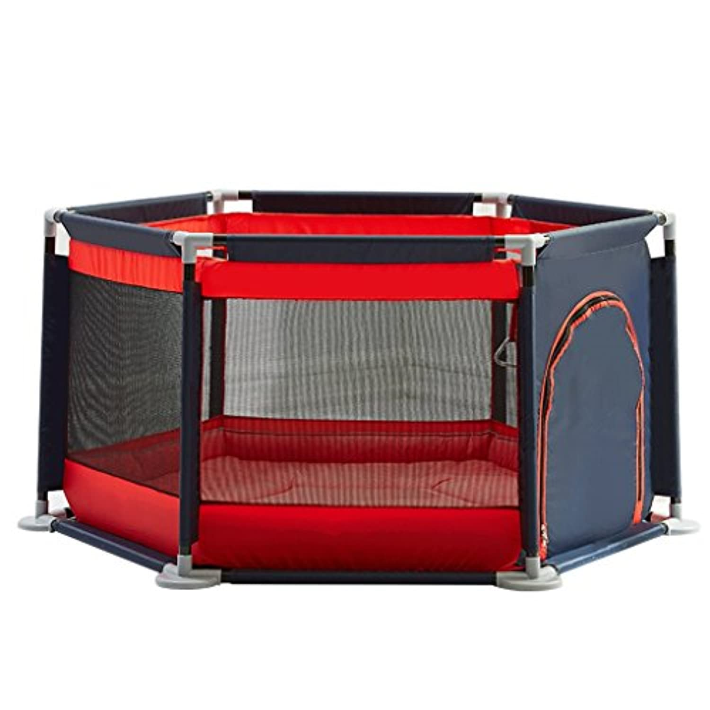 赤ちゃんのフェンスの子供の粉々に抵抗するバーのゲームのフェンスの赤ちゃん屋内プレイハウスの安全クロールマットホーム安全活動センター (Color : Red, Size : 136 * 65cm)