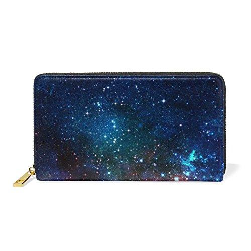 マキク(MAKIKU) 長財布 レディース 本革 大容量 ラウンドファスナー カード12枚収納 プレゼント対応 宇宙柄 星柄