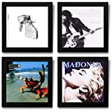 Show & Listen Album Cover Display Frame, Flip Frame Displays Vinyl Records, 12.5x12.5, Black, Set of 4