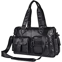 Genda 2Archer Men's Leather Vintage Bag Small Travel Handbag Messenger Shoulder Bag One_Size Black