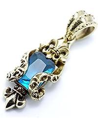 シルバーワン(Silver1) ho 海の癒し色 ブルー ストーン ロイヤル ゴールド フレア ブラス ペンダントBRASS メンズ