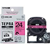 キングジム 「テプラ」PROテープカートリッジ マグネットテープ ピンク/黒文字 24mm SJ24P