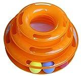 猫 ボールがぐるぐる回る おもちゃ 運動不足 ストレス 解消 ペット用品 (3段, オレンジ)
