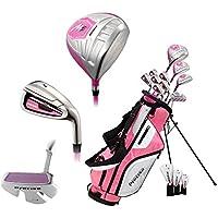 PreciseGolf Co. M5 レディース 女性用コンプリート右利き用ゴルフクラブセットには、次のものが含まれます。チタンドライバー、S.S.フェアウェイ、S.S.ハイブリッド、S.S. 5-PWアイアン、パター、スタンドバッグ、ヘッドカバー(3つ、ピンク)