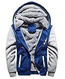 冬も かっこよく 厚手 メンズ ジャケット フード 付 裏地 温か ジャンパー 防寒対策 も バッチリ (3L(日本2Lサイズ), ブルー)