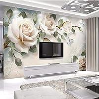 Weaeo 現代手描きの油絵の花ヨーロッパの壁の壁のカスタム大規模な壁画のシルクのシルクの壁紙-350X250Cm