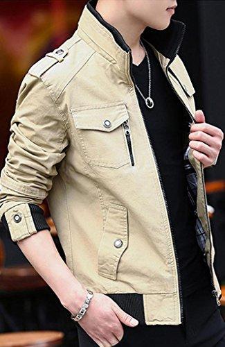 メンズ コート 春秋 薄韓 詰め襟 レジャー 長袖 デニムジャケット 修身 ビジネス カジュアル 無地 ポケットを付け ファッション カーキT1
