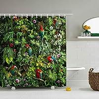 コンゴウインコオウム鳥森花葉シャワーカーテン カーテンリング付け 防水防カビ加工 間仕切り リング付き