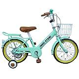 16インチ子供用自転車 AJ-07 自転車 子供用 16インチ 男の子 女の子 子ども 幼児 幼児車 ジュニア キッズバイク 補助輪 かわいい おすすめ 記念日 誕生日 プレゼントに 自転車デビューならこれ! (ミントグリーン)