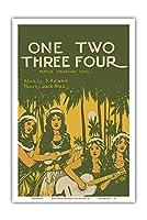 One Two Three Four - 有名なハワイの歌 - 歌詞 S. Kalama - 音楽 Jack Alau - ヴィンテージ・ハワイアン・シート・ミュージック によって作成された W.R. ドゥ・ラペ c.1916 - アートポスター - 31cm x 46cm