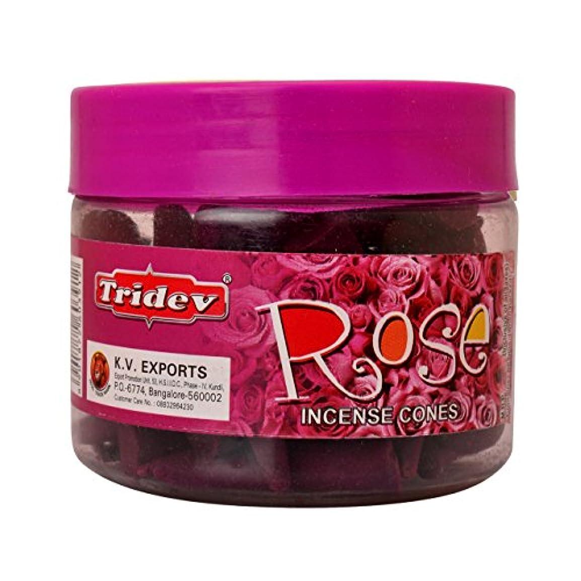 文房具出演者重大Tridev Rose Incense Cones Jar 90グラムパック