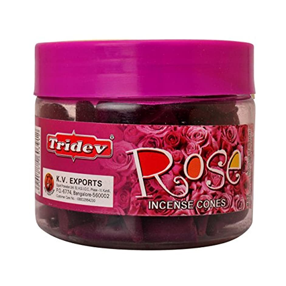 証書病気頑丈Tridev Rose Incense Cones Jar 90グラムパック