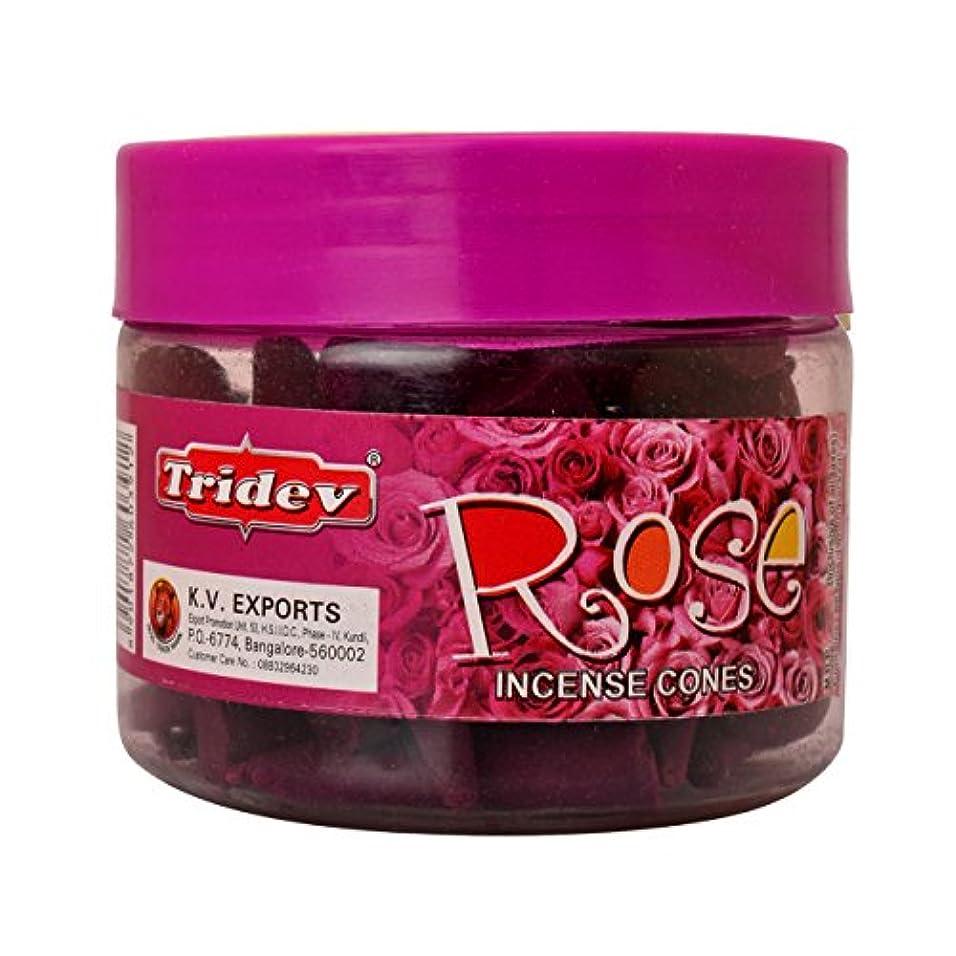 酸度感覚最も早いTridev Rose Incense Cones Jar 90グラムパック