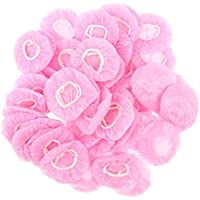 HOMYL 100 Pieces Disposable Bath Ear Covers Earmuffs Cap Hair Dye Shield Protector Suitable for Both Men and Women - Pink, One Size
