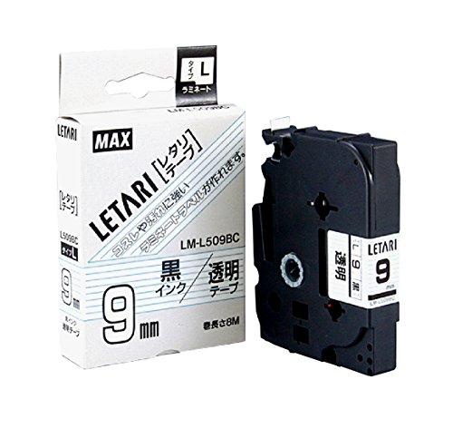 マックス ビーポップミニ テープカセット 9mm幅 透明に黒文字 LM-L509BC