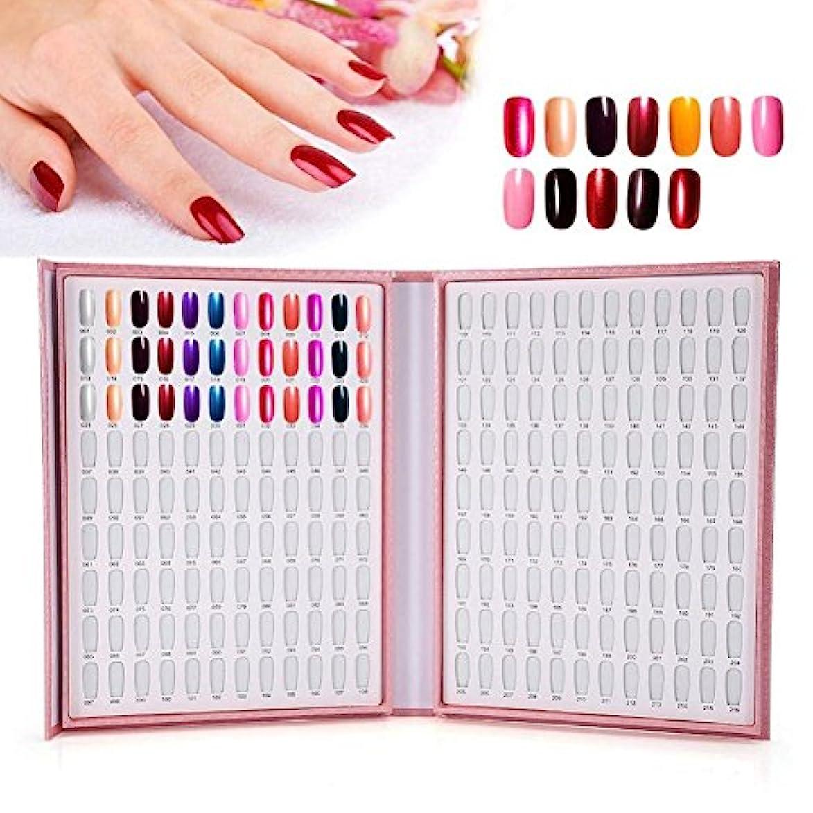 マーキング普通に警告カラーチャート ブック - BESTGIFT ジェルネイル、カラーガイド、 ネイル 色見本、ブック型 、サンプル帳、216色 (ピンク)