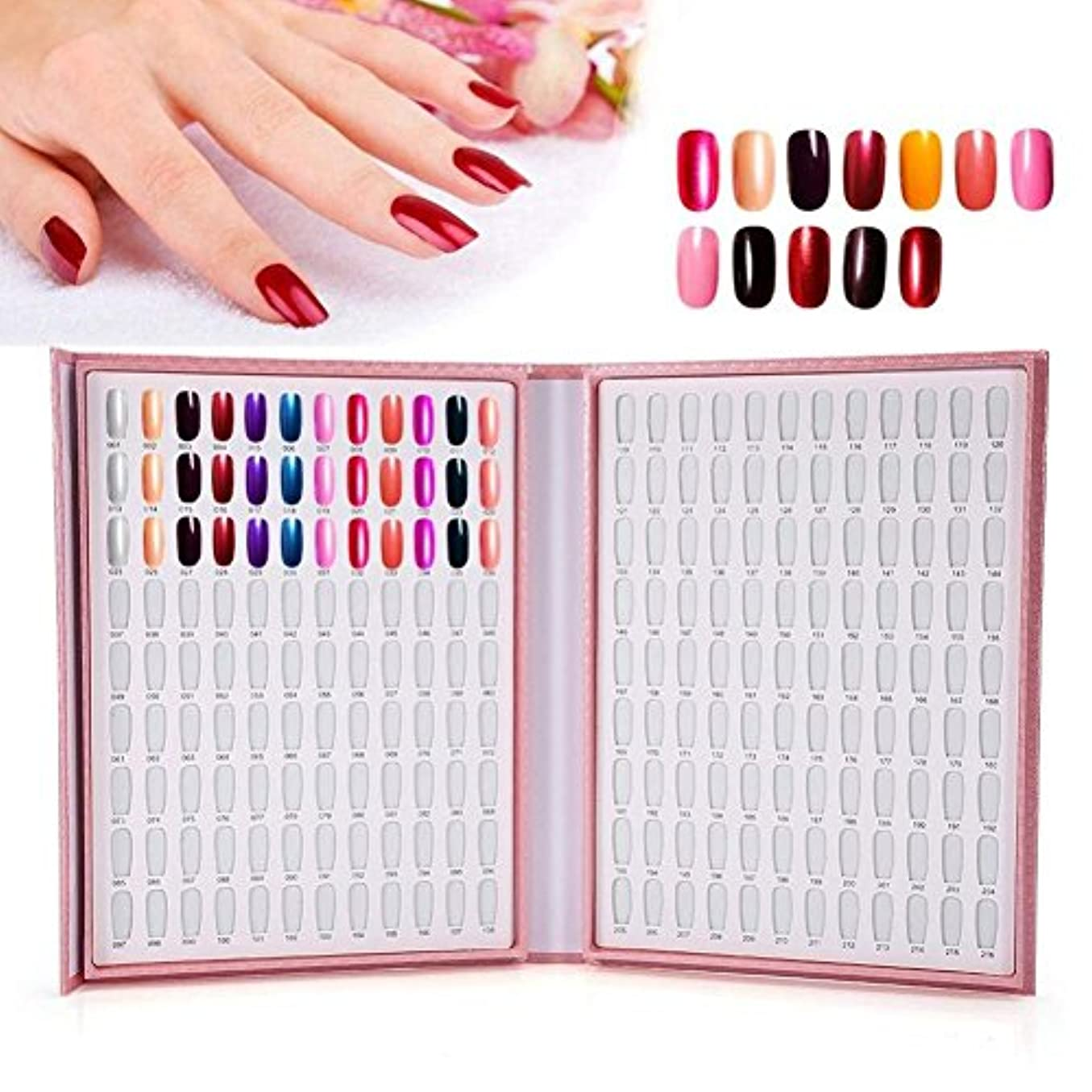 しっかり豊かにするイタリックカラーチャート ブック - BESTGIFT ジェルネイル、カラーガイド、 ネイル 色見本、ブック型 、サンプル帳、216色 (ピンク)