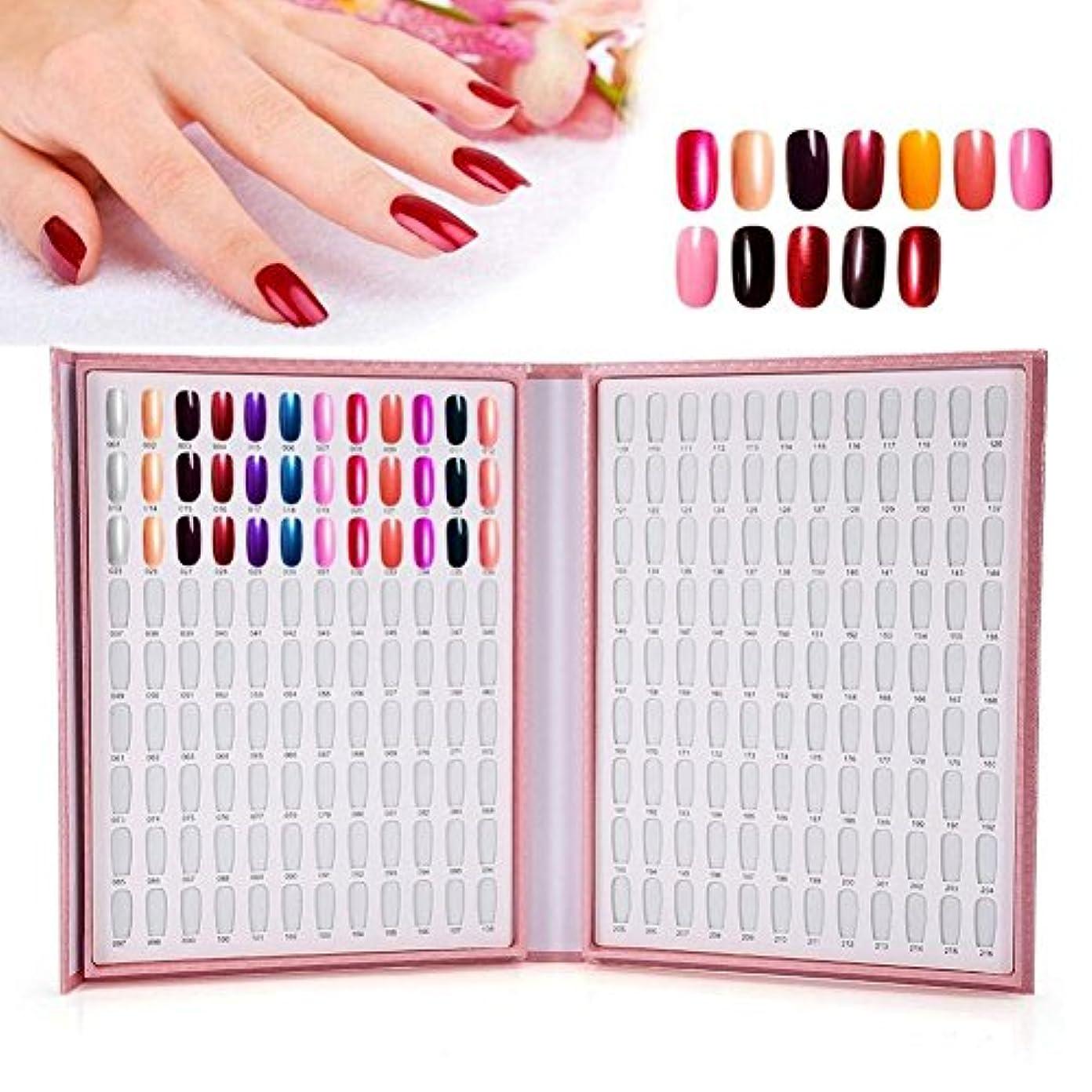 言い訳世界の窓最初カラーチャート ブック - BESTGIFT ジェルネイル、カラーガイド、 ネイル 色見本、ブック型 、サンプル帳、216色 (ピンク)