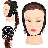 フェイスケアのための顔面V字型包帯フェイシャルスリミングマスク薄い首のフェイスリフトダブルチン女性用、黒(L)
