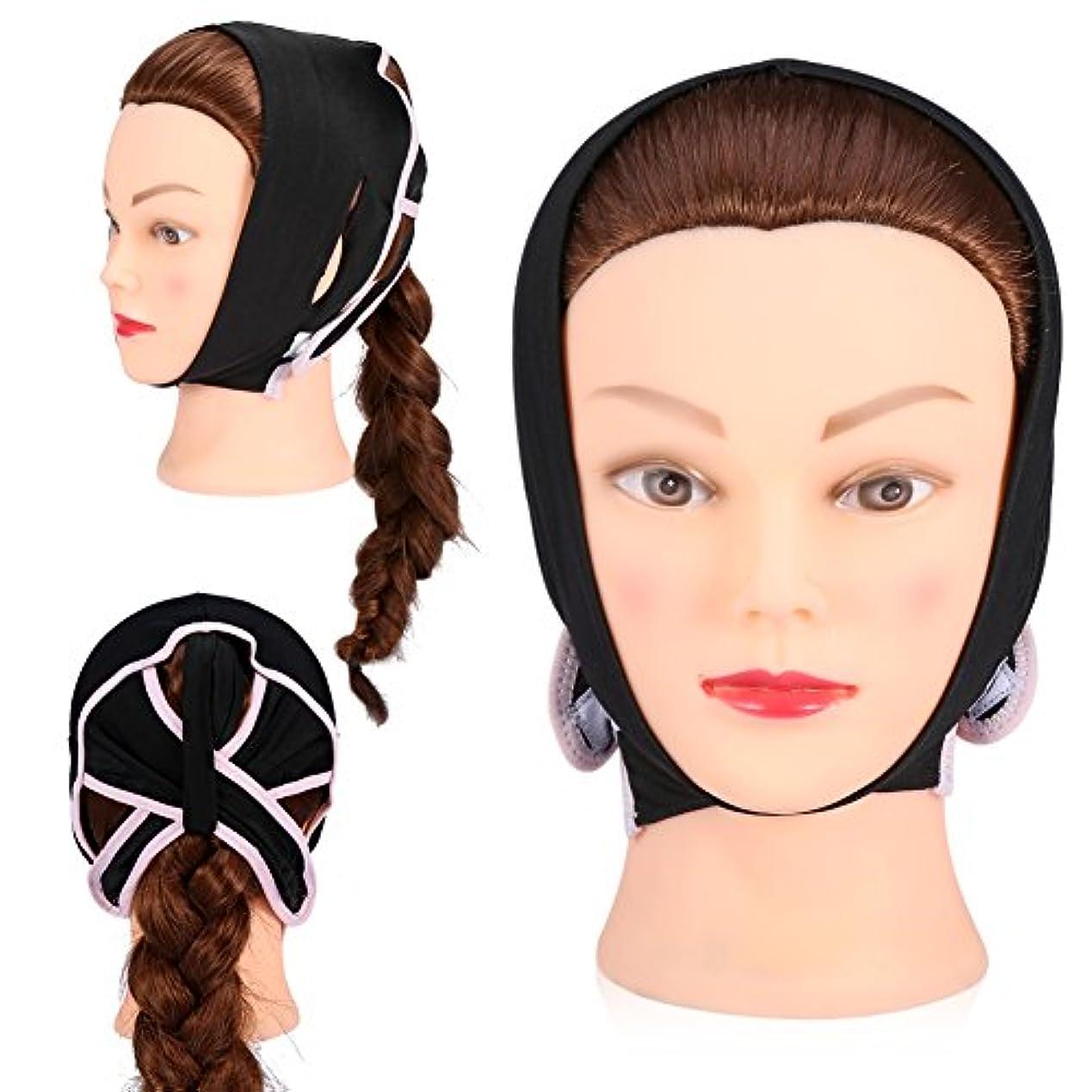 力たぶん期間フェイスケアのための顔面V字型包帯フェイシャルスリミングマスク薄い首のフェイスリフトダブルチン女性用、黒(L)