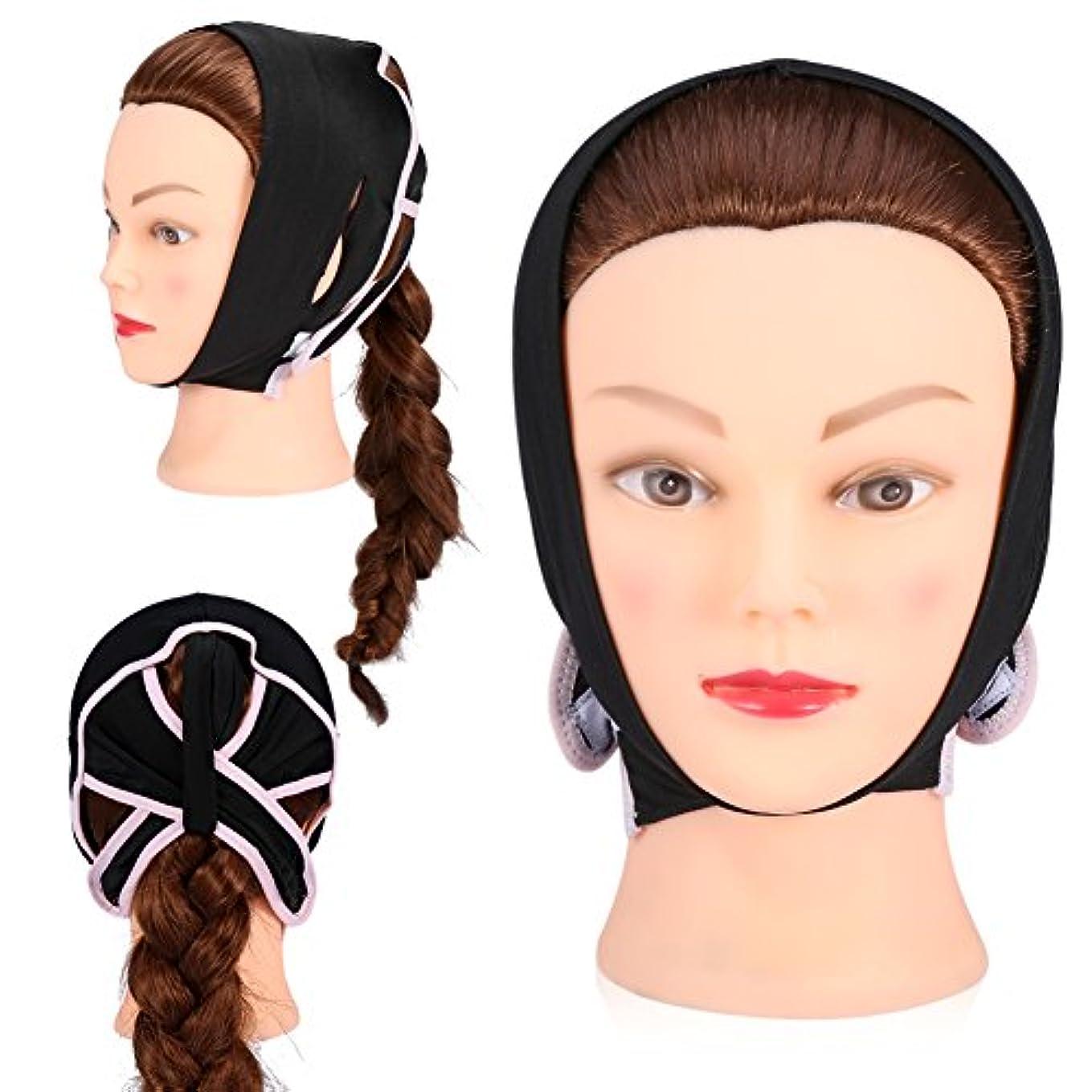 レトルト靄賞賛するフェイスケアのための顔面V字型包帯フェイシャルスリミングマスク薄い首のフェイスリフトダブルチン女性用、黒(L)
