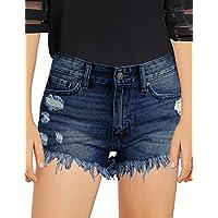 luvamia Girls Denim Shorts Frayed Raw Hem Ripped Denim Jean Shorts 4-13 Years Blue