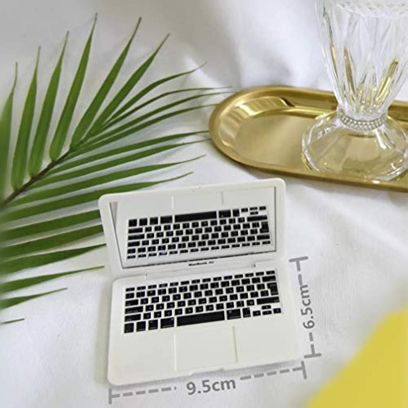 迷惑成分成果ジャション ミニポータブル アップル マックブック エアー メイクアップ 化粧鏡 手鏡 創造的なポケット ハンドバッグ 折りたたみコンパクト ミラー 女性用 (White)
