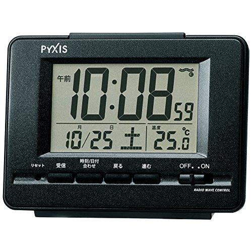 セイコー クロック 目覚まし時計 電波 デジタル カレンダー 温度 表示 PYXIS ピクシス 黒 メタリック NR535K SEIKO
