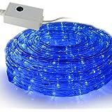 SEIKOH イルミネーションロープライト 50m 青 LED 1500球 コントローラー付 防水 IRMRB050IRMRC010